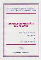 Analele Universitatii din Craiova - Seria Stiinte Filologice. Limbi straine aplicate, Anul XXXIV, Nr. 1-2/2012