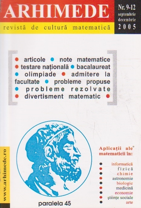 Arhimede - Revista de cultura matematica, Nr. 9-12/2005