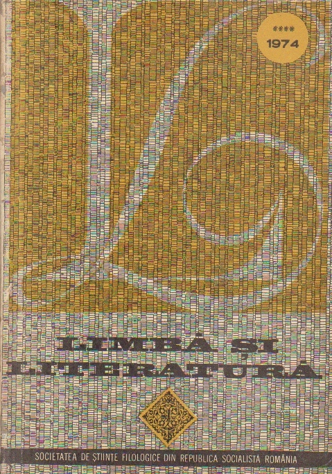 Limba si literatura, Nr. IV/1974