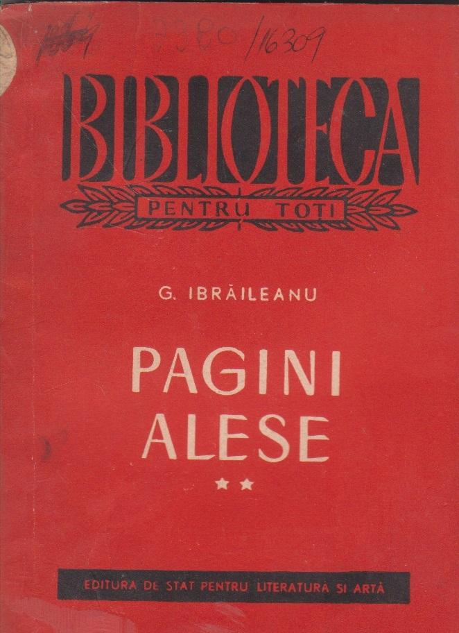 Pagini alese, Volumul al II-lea (Ibraileanu)