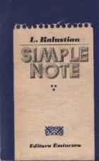 Simple note, volumul al III-lea