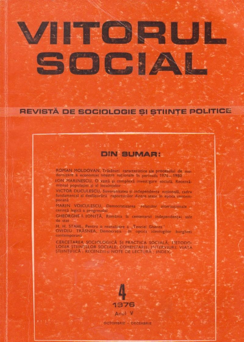 Viitorul Social. Revista de Sociologie si Stiinte Politice, Nr. 4/1976